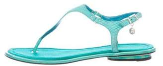 Brian Atwood Embossed Thong Sandals