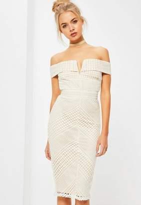 Missguided White Lace V Bardot Midi Dress, White