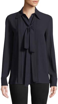 Michael Kors Bow-Neck Button-Front Blouse