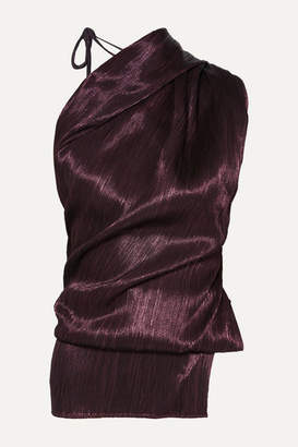 Roland Mouret Lyan One-shoulder Plissé Silk-blend Top - Burgundy