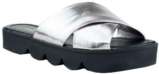 Silver Platform Slide - Women