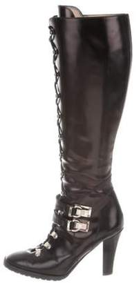 Michael Kors Leather Lace-Up Boots Black Leather Lace-Up Boots