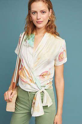 WRAY Watercolor Silk Wrap Blouse
