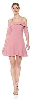 Finders Keepers findersKEEPERS Women's Continuum Cold Shoulder Stretch Crepe Ruffle Mini Dress,M