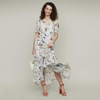 Maje Floral maxi dress with ruffles
