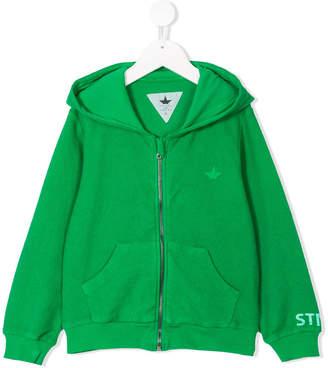 Macchia J Kids logo embroidered textured hoodie
