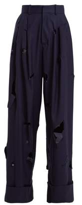 Charles Jeffrey Loverboy - Hole Cut Out Wide Leg Wool Trousers - Womens - Navy