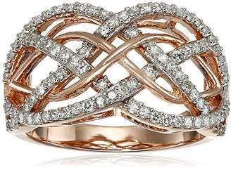 VG 14k Gold Plated Sterling Silver Moissanite Braided Band Ring