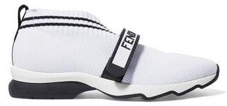 Fendi Rockotop Logo-print Stretch-knit And Mesh Slip-on Sneakers - White