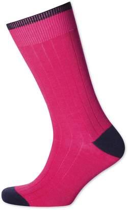 Charles Tyrwhitt Bright Pink Cotton Rib Socks Size Large