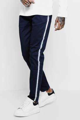 boohoo Slim Fit Trouser With Side Stripe Panel