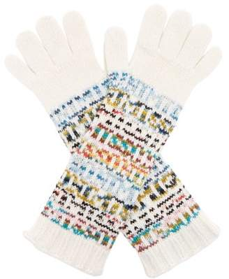 Missoni Logo Knitted Wool Blend Gloves - Womens - White