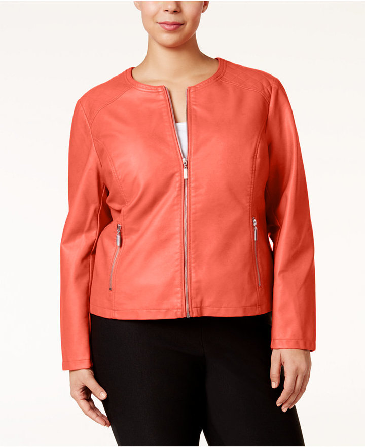 Alfani Alfani Plus Size Faux-Leather Moto Jacket, Only at Macy's