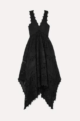 Zimmermann Asymmetric Canvas-paneled Crochet-trimmed Lace Maxi Dress - Black