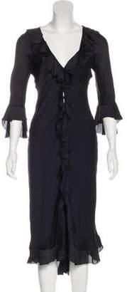 Ralph Lauren Silk Ruffle-Trimmed Dress