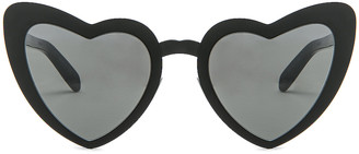 Saint Laurent Lou Lou Heart Sunglasses in Black & Silver Flash | FWRD