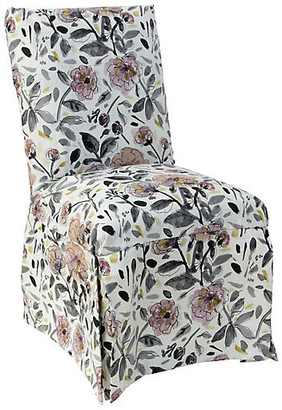 One Kings Lane Owen Skirted Side Chair - Violet/Gray Floral