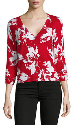 INC International Concepts Floral-Print Buttoned Cardigan