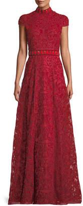 Alice + Olivia Nidia Embellished Velvet Mock-Neck Gown