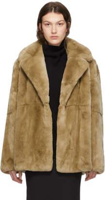 Yves Salomon Tan Rex Rabbit Fur Jacket