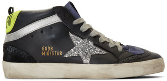 Golden Goose Black and Silver Glitter Mid Star Sneakers