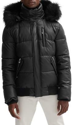 Noize Nixon Vegan Leather Faux Fur-Trim Puffer Coat