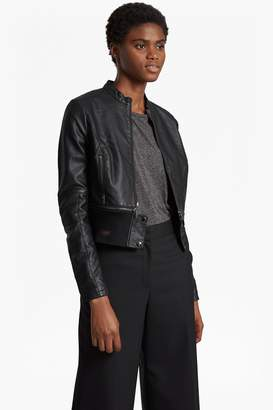 French Connenction Sandra Faux Leather High Collar Biker Jacket