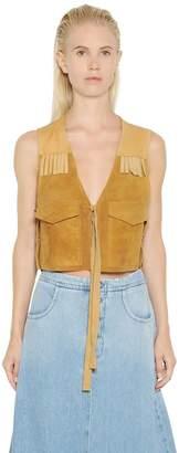 MM6 MAISON MARGIELA Fringed Suede & Nappa Leather Vest