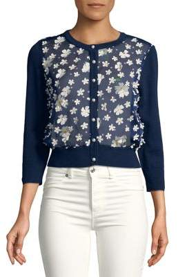 Karl Lagerfeld Paris Sheer Floral Applique Cardigan