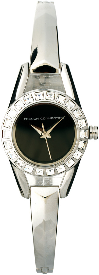 French Connection Silver Bracelet Watch with Stone Set Black Dial