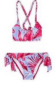 Submarine Kids' Hibiscus-Print Velvet Two-Piece Swimsuit - Purple