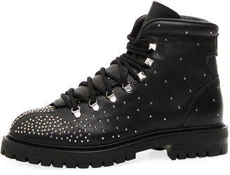 Valentino Dewstuds Leather Hiking Boots