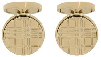 Burberry Check-engraved round cufflinks