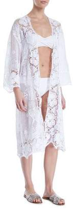 Miguelina Mia Open-Front Lace Swim Coverup