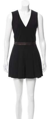Alice + Olivia Leather-Trimmed Pleated Romper