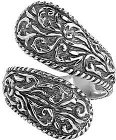 American West Sterling Diamond-Cut Scroll Bypas s Ring