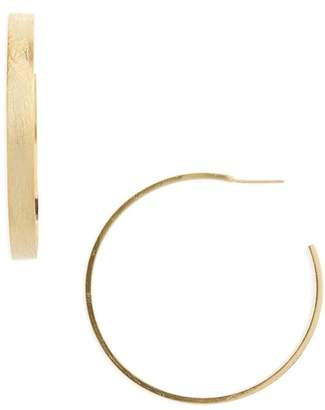 Halogen Large Brushed J-Hoop Earrings
