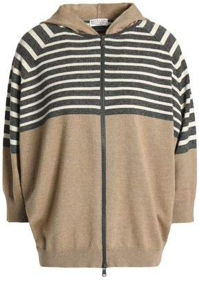 Brunello Cucinelli Striped Cashmere Hooded Cardigan