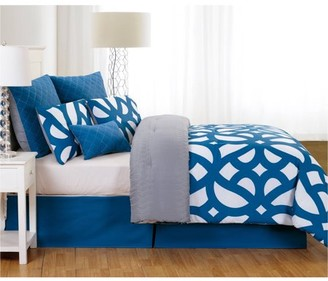 Duck River Uxbridge Online Quilted Oversize/Overfilled 7pc King Comforter Set in Indigo-Grey