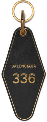 Balenciaga Hotel Printed Leather Keychain - Black