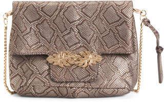 Leather Metallic Snake Design Bag