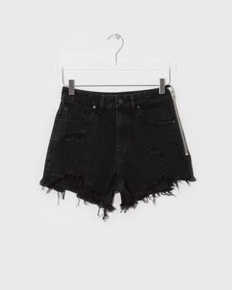 Alexander Wang Black Fade Destroy Bite Side Zip Denim Shorts