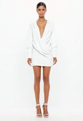 Missguided White Wrap Over Cowl Neck Dress