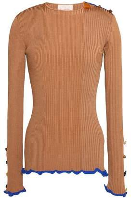 Roksanda Ruffle-Trimmed Button-Detailed Ribbed-Knit Top