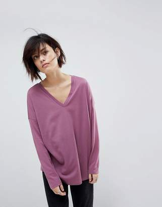 Asos Design Top with V-Neck in Oversized Lightweight Rib