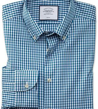 Charles Tyrwhitt Extra slim fit business casual non-iron button-down teal check shirt