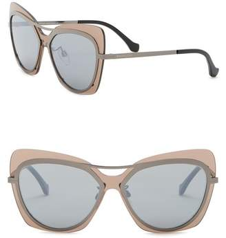 Balenciaga 57mm Cat Eye Browbar Sunglasses