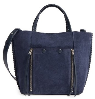 Allsaints Fleur De Lis East/west Small Convertible Tote - Blue $328 thestylecure.com