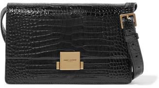 Saint Laurent Bellechasse Croc-effect Glossed-leather Shoulder Bag - Black