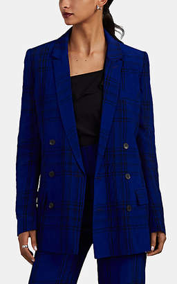 Haider Ackermann Women's Plaid Washed Silky Twill Double-Breasted Blazer - Blue, Violet, Blk